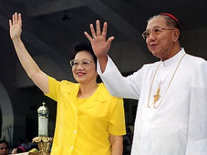 Cory Aquino with Jaime, Cardinal Sin