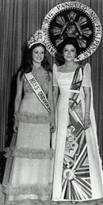 Imelda Marcos with Amparo Munoz, Miss Universe 1974