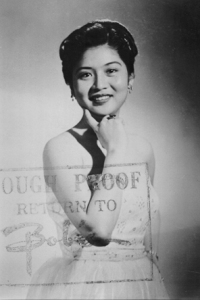 A studio portrait of Imelda Marcos, circa 1954, as seen in Ramon