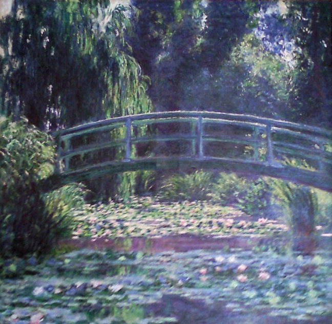 Monet's Japanese bridge over water lily pond